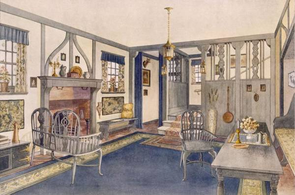 Beam Drawing - Elizabethan Style Entrance Hall by Richard Goulburn Lovell