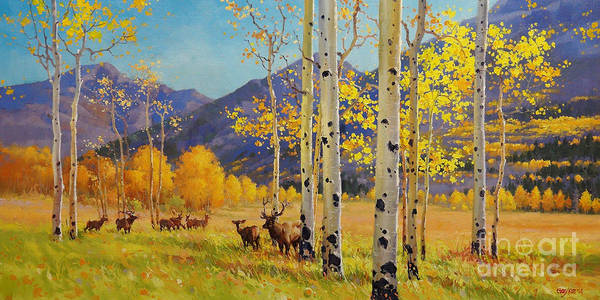 Colorado Landscape Painting - Elk Herd In Aspen Grove by Gary Kim