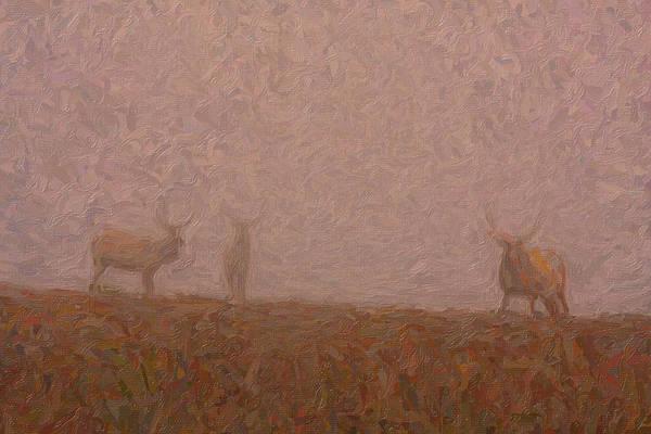 Vertebrate Painting - Elks In The Fog by Celestial Images