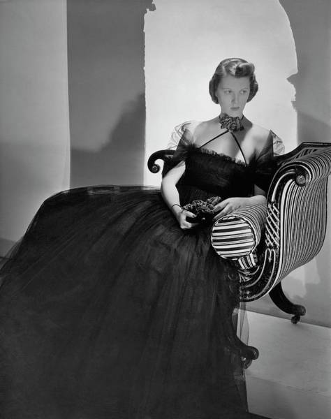 Plant Photograph - Ellen Astor Wearing A Tulle Dress by Horst P. Horst
