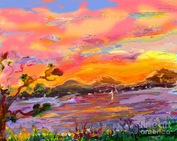 Spring Mountains Mixed Media - Elliot Bay 2 by Cecily Mitchell