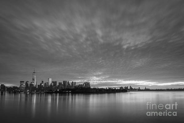 Nine Eleven Photograph - Ellis Island And Manhattan Sunrise Bw by Michael Ver Sprill