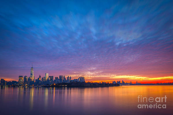 Lower Manhattan Photograph - Ellis Island And Manhattan Sunrise by Michael Ver Sprill