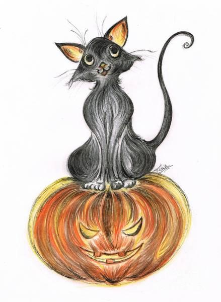 Trick Or Treat Drawing - Elma's Pumpkin by Teresa White