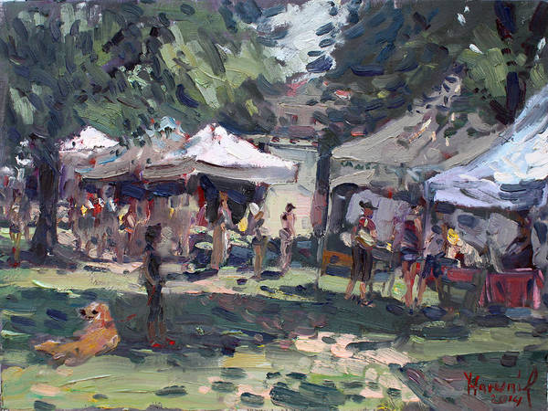 Shopping Painting - Elmwood-bidwell Farmers Market by Ylli Haruni