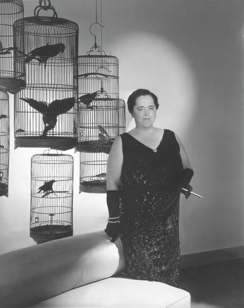 Pet Portrait Photograph - Elsa Maxwell Posing In Front Of Bird Cages by Horst P. Horst