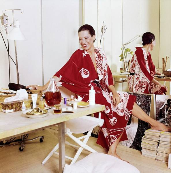 Red Cross Photograph - Elsa Peretti Wearing A Red Kimono by Horst P. Horst