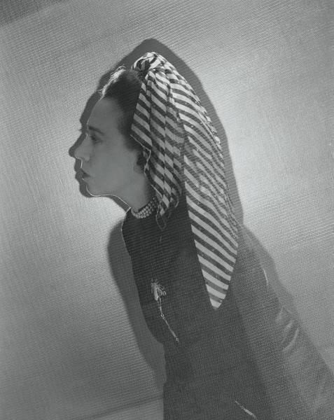 Wall Art - Photograph - Elsa Schiaparelli Wearing A Striped Turban by Cecil Beaton