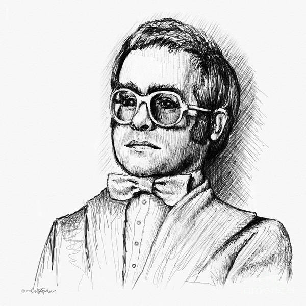 Rock Music Drawing - Elton  by Cristophers Dream Artistry