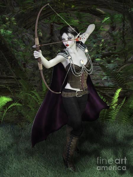 Digital Art - Elven Archer Female by Elle Arden Walby