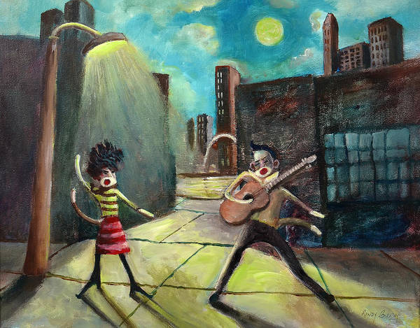 Sock Monkey Painting - Elvis And Phyllis Diller Meet In St. Louis On A Moonlit Night As Sock Monkeys by Randy Burns