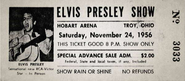 Wall Art - Photograph - Elvis Presley Concert Ticket 1956 by Bill Cannon