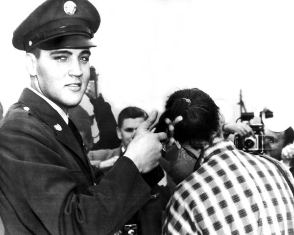 Controversy Photograph - Elvis Presley Cuts Army Recruits Hair by Retro Images Archive