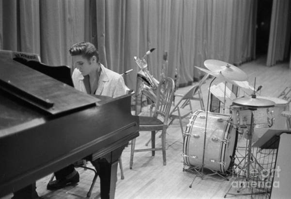 Wall Art - Photograph - Elvis Presley On Piano Waiting For A Show To Start 1956 by The Harrington Collection