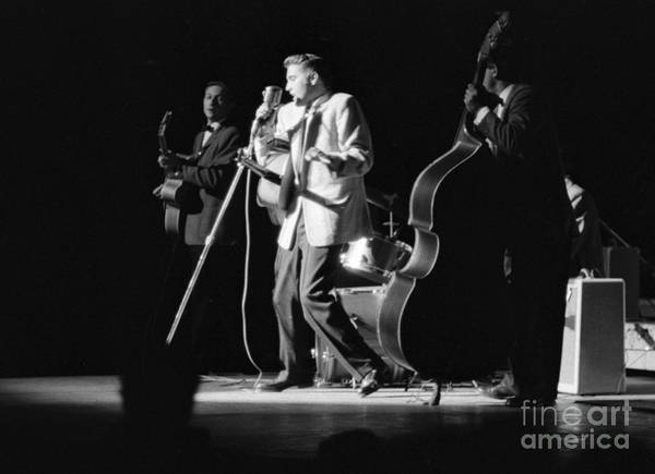 Wall Art - Photograph - Elvis Presley On Stage With Scotty Moore And Bill Black 1956 by The Harrington Collection
