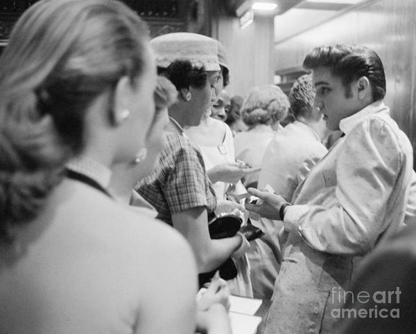 Wall Art - Photograph - Elvis Presley Signing Autographs At The Fox Theater 1956 by The Harrington Collection