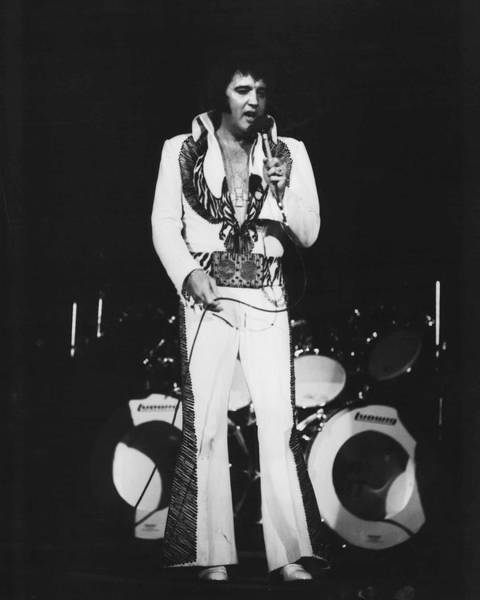Controversy Photograph - Elvis Presley Sings In Front Of Drum Set by Retro Images Archive