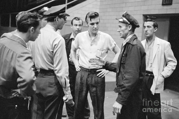 Gene Photograph - Elvis Presley Speaking With Police Officers In 1956 by The Harrington Collection