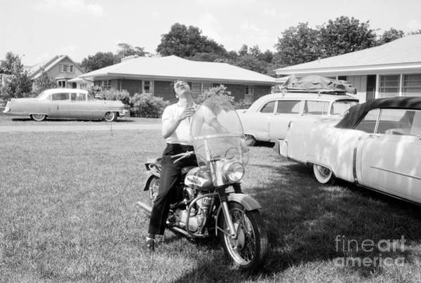 Wall Art - Photograph - Elvis Presley With His 1956 Harley Kh by The Harrington Collection