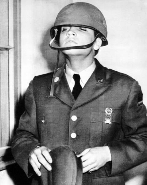 Controversy Photograph - Elvis Presley With Military Helmet by Retro Images Archive