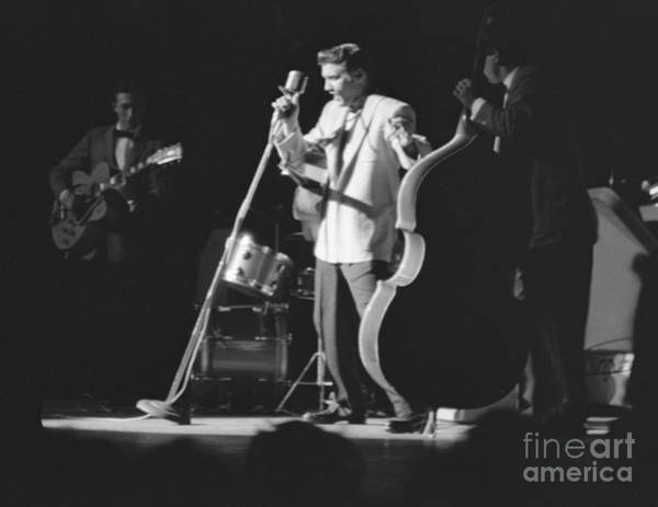 Scotty Wall Art - Photograph - Elvis Presley With Scotty Moore And Bill Black 1956 by The Harrington Collection