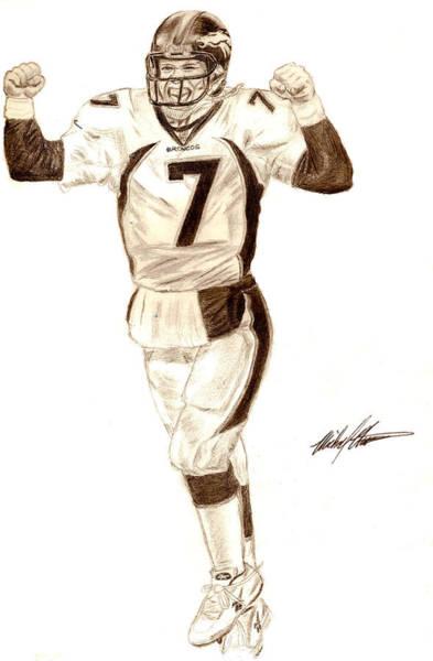 Super Bowl Drawing - Elway #7 by Michael Mestas
