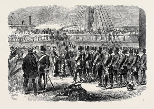 Brigade Drawing - Embarkation At Woolwich Of The E Battery Fourth Brigade by Canadian School