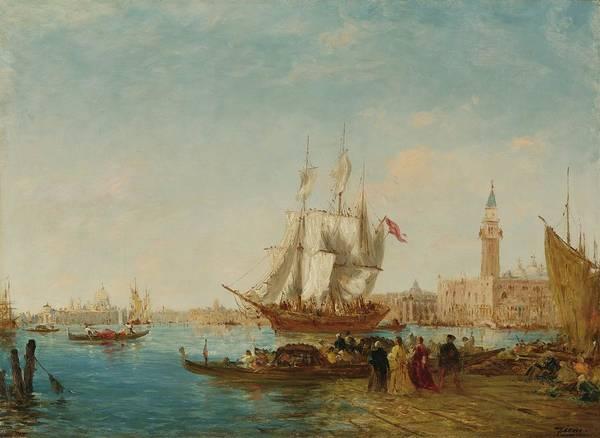 Painting - Embarquement Sur Le Quai Des Esclavons by Felix Ziem