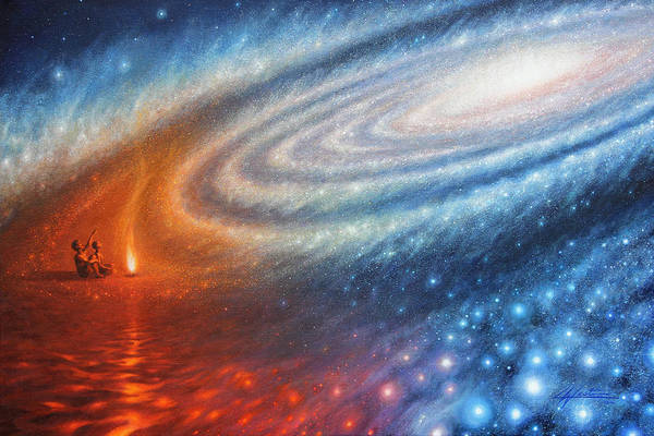 Milky Way Wall Art - Painting - Embers Of Exploration And Enlightenment by Lucy West