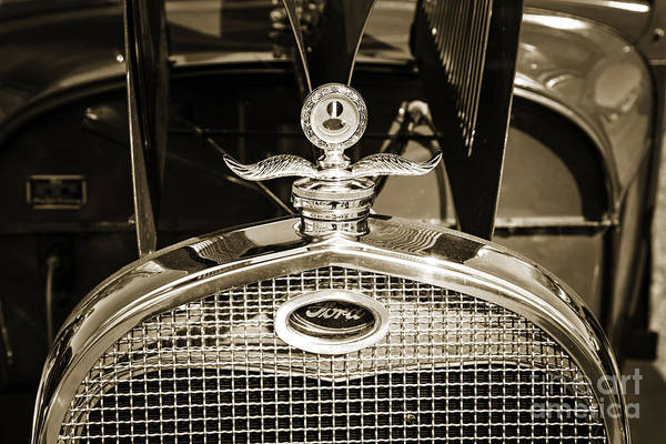 Photograph - Emblem For 1929 Ford Classic Antique Automobile Car In Sepia  30 by M K Miller