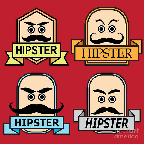 Cool Digital Art - Emblem. Label. Hipster. Background Of by Katykin