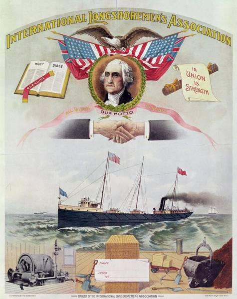 Work Boat Photograph - Emblem Of The International Longshoremens Association, C.1886 Litho by American School