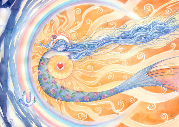 Rainbow Rose Wall Art - Painting - Embracing Love by Sara Burrier