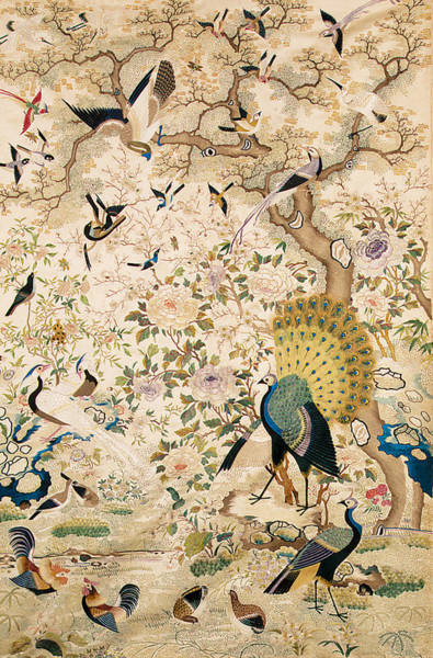 Embroidery Painting - Embroidered Panel With A Pair Of Peacocks And Numerous Other Birds by Chinese School