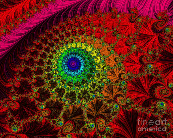 Mural Digital Art - Embroidered Silk And Beads - Horizontal by Mary Machare