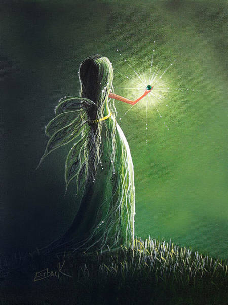 Faceless Painting - Emerald Fairy By Shawna Erback by Erback Art