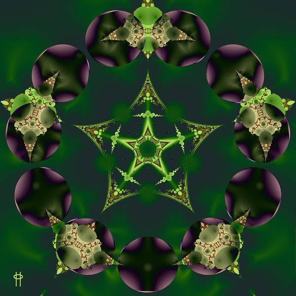 Fractal Landscape Digital Art - Emerald Pentagram by Jim Pavelle