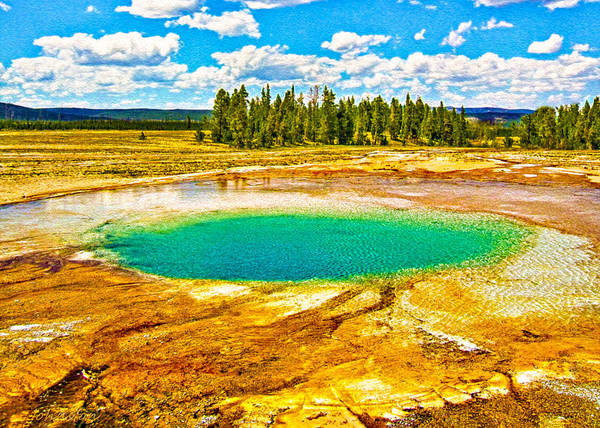 Photograph - Emerald Thermal Pool Yellowstone National Park by Bob and Nadine Johnston