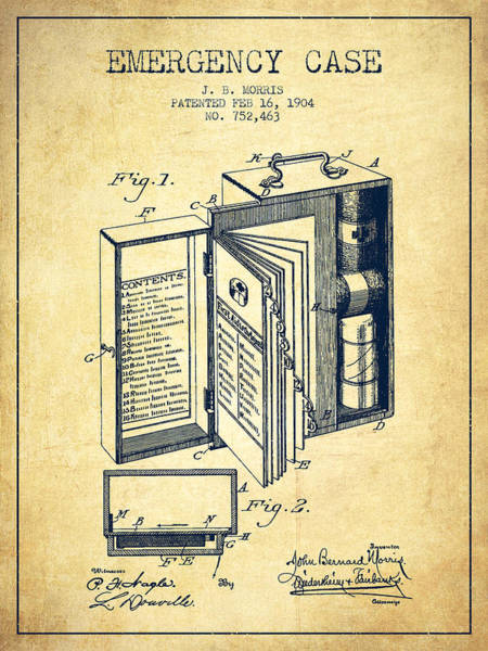 Medicines Digital Art - Emergency Case Patent From 1904 - Vintage by Aged Pixel