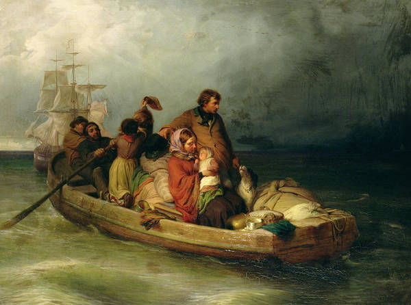 Dinghies Photograph - Emigrant Passengers On Board, 1851 Oil On Canvas by Felix Schlesinger