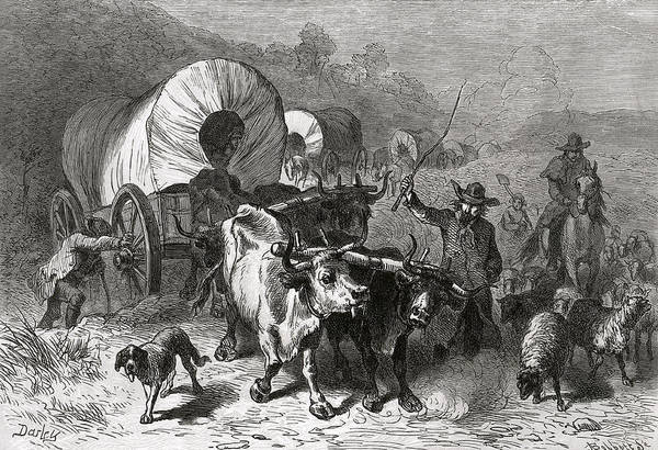 Settlers Photograph - Emigration To The Western Country, Engraved By Bobbett Engraving Bw Photo by Felix Octavius Carr Darley