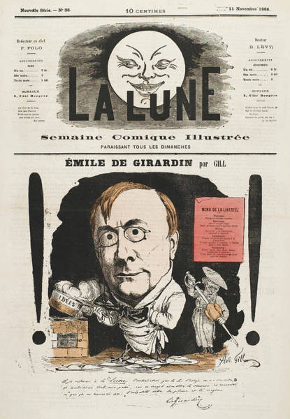 Gill Drawing - Emile De Girardin  French Journalist by Mary Evans Picture Library