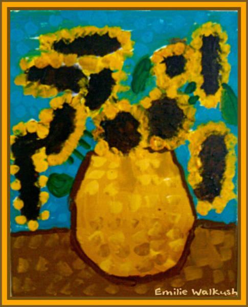 Mixed Media - Emilie Sunflowers by Ray Tapajna