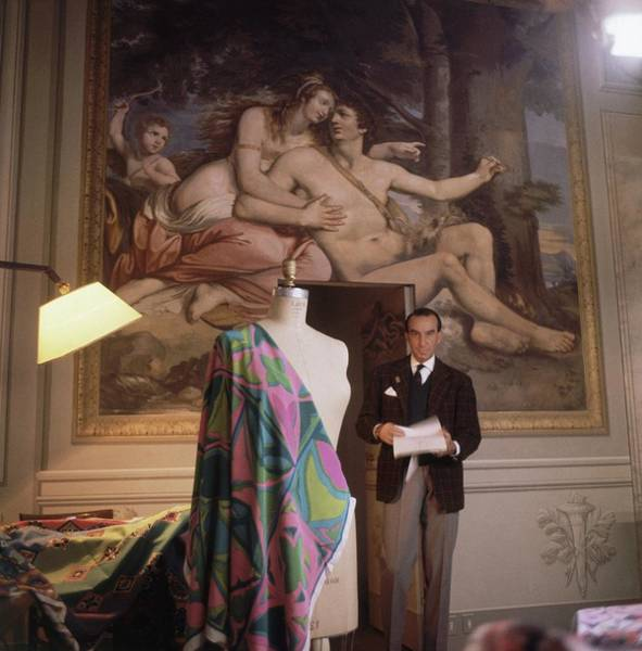 Italy Photograph - Emilio Pucci By A Fresco by Horst P. Horst