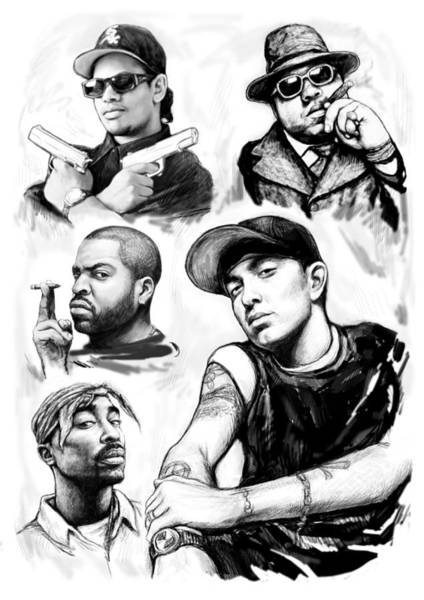Charcoal Painting - Eminem With Rap Stars Art Drawing Sketch Portrait by Kim Wang