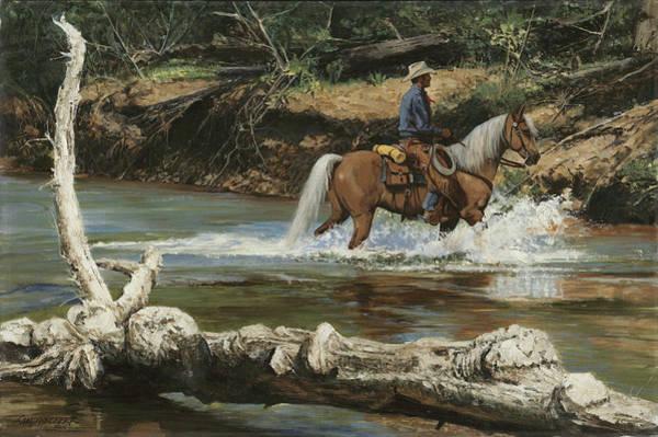 Wall Art - Painting - Palomino Crossing Big Creek by Don  Langeneckert