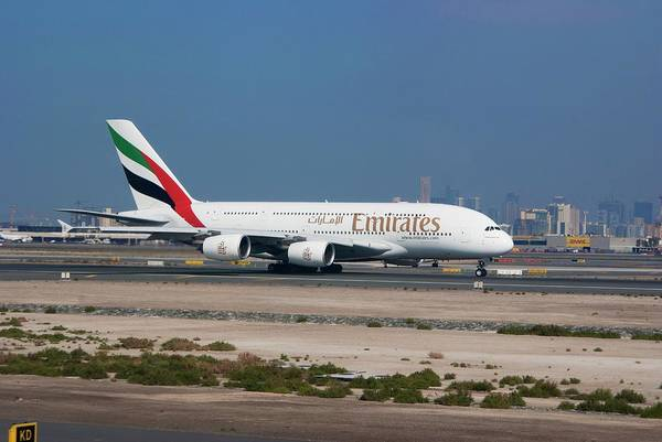 Runway Photograph - Emirates Airbus A380 At Dubai Airport by Mark Williamson/science Photo Library