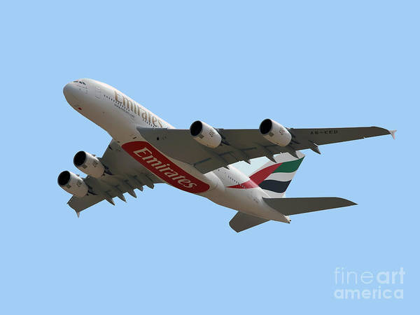 Airbus A380 Wall Art - Photograph - Emirates Airlines Airbus A380-861 by Graham Taylor