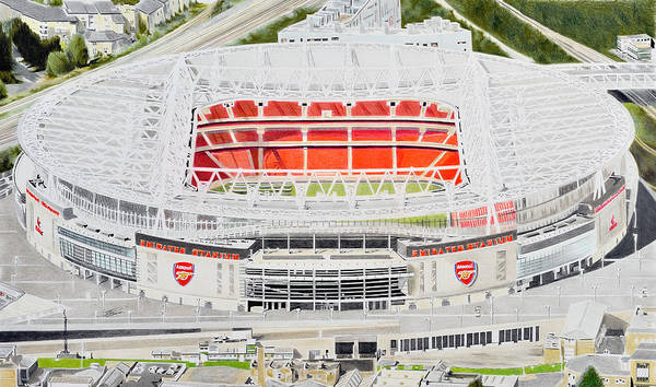 Emirates Stadium Wall Art - Painting - Emirates Stadia Art - Arsenal Fc by Brian Casey