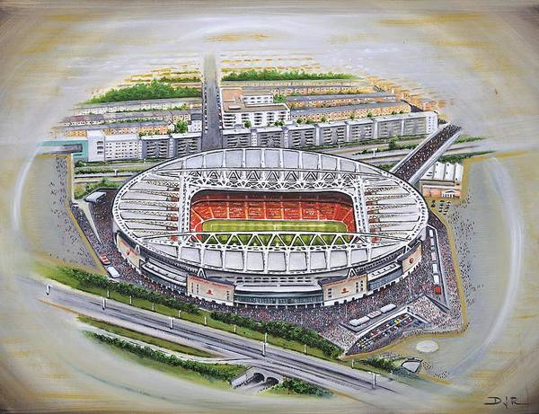 Wall Art - Painting - Emirates Stadium - Arsenal by D J Rogers